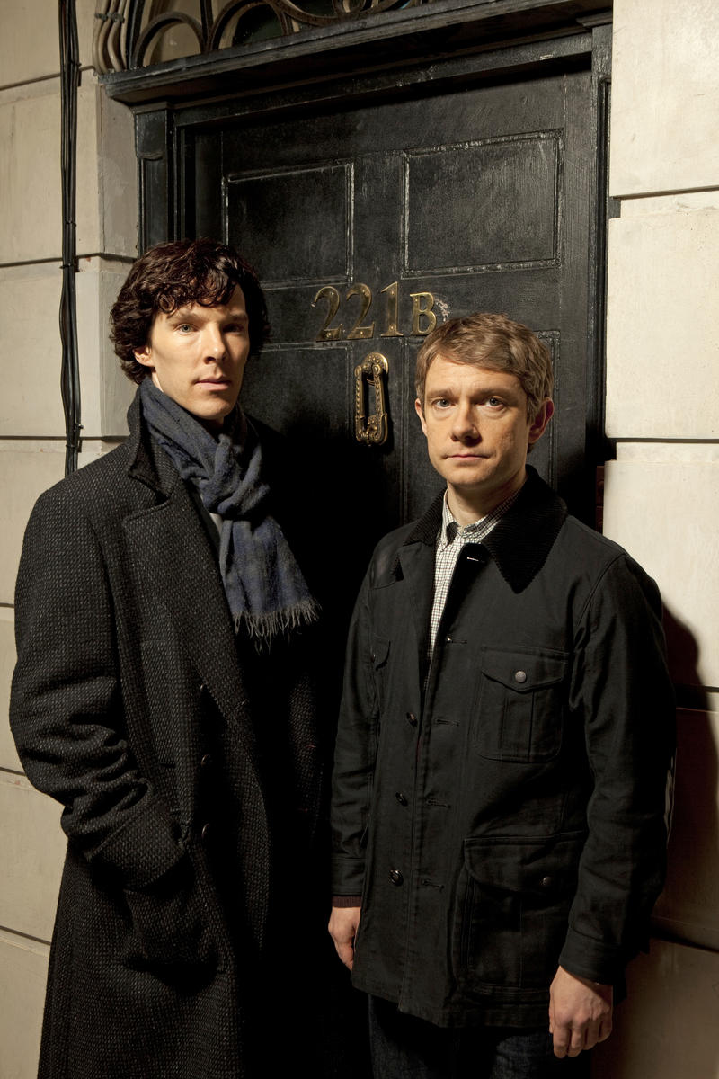 Benedict Cumberbatch as Sherlock Holmes and Martin Freeman as Dr. Watson