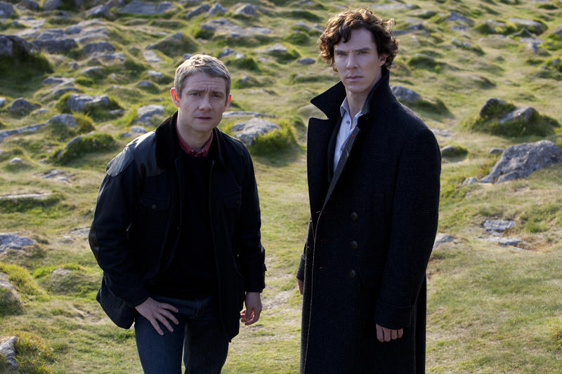 Martin Freeman as Watson and Benedict Cumberbatch as Sherlock