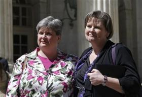 Sharon Baldwin, left, and her partner Mary Bishop, who are plaintiffs in a case challenging Oklahoma's same-sex marriage ban.
