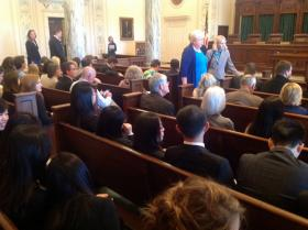 A packed Supreme Court chamber awaits arguments on HB3399