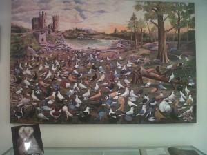 This painting on display at the museum illustrates the many breeds of pigeon.