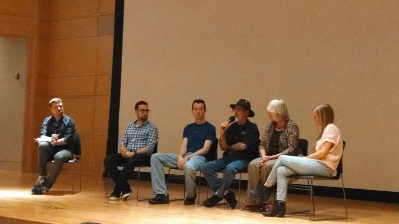 At the Norman screening - From left to right: Producer/Moderator Eric Juhola, Director Jeremy Stulberg, Austin Harrington, Van Harrington, Nancy Harrington, Nikki Harrington