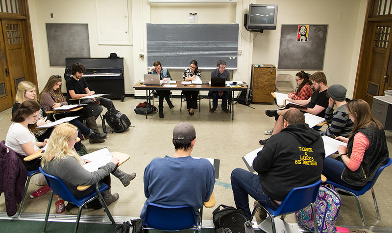 Oklahoma City Bombing Project cast members during the first table reading of the script, which is based on interviews with those impacted by the 1995 terrorist attack.