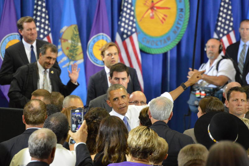President Barack Obama talks with attendees of a speech in Durant, Oklahoma on July 15, 2015.