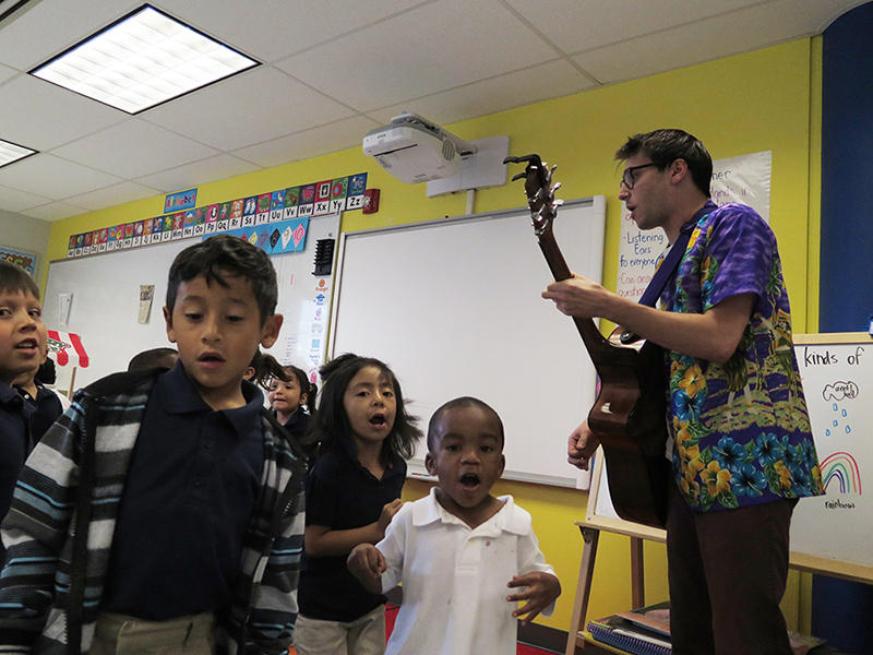 Jarred Geller rocks out in his Punk Rock Preschool class.