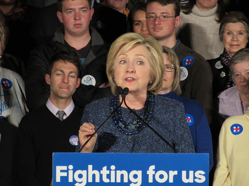 Hillary Clinton speaks to a crowd on Friday at the Oklahoma Jazz Hall of Fame.
