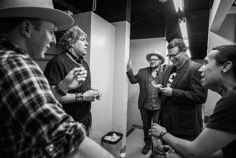 Backstage at the Gilcrease (left to right: Ryan RedCorn, Dallas Goldtooth, Sterlin Harjo, Migizi Pensoneau and Bobby Wilson)
