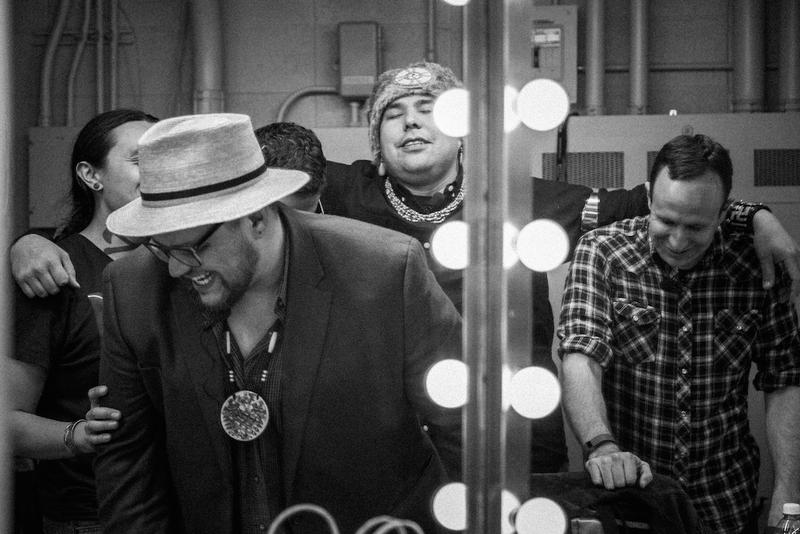 Goofing off backstage before the show (left to right: Bobby Wilson, Sterlin Harjo, Migizi Pensoneau, Dallas Goldtooth and Ryan RedCorn)