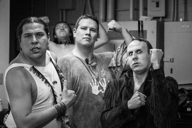 1491s hamming it up before the show. (left to right: Dallas Goldtooth, Bobby Wilson, Migizi Pensoneau and Ryan RedCorn)