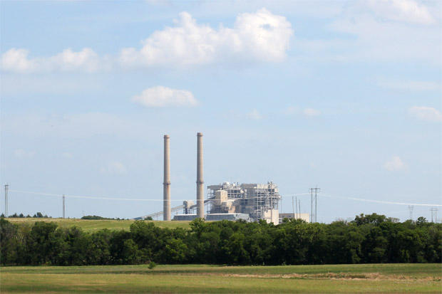 Oklahoma Gas & Electric's coal-fired Sooner Plant near Red Rock, Okla.