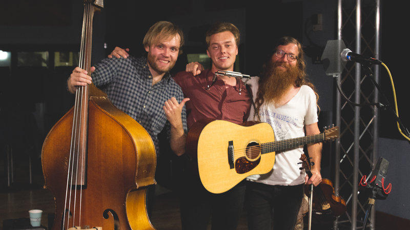 Parker Millsap (center) and bandmates Michael Rose (left) and Daniel Foulks (right) in the World Cafe performance studio.