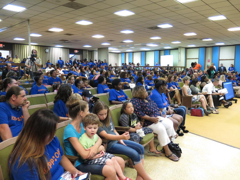Standing room only at the OKCPS Board meeting on Monday night. Many of the attendees were KIPP supporters, wearing blue shirts.