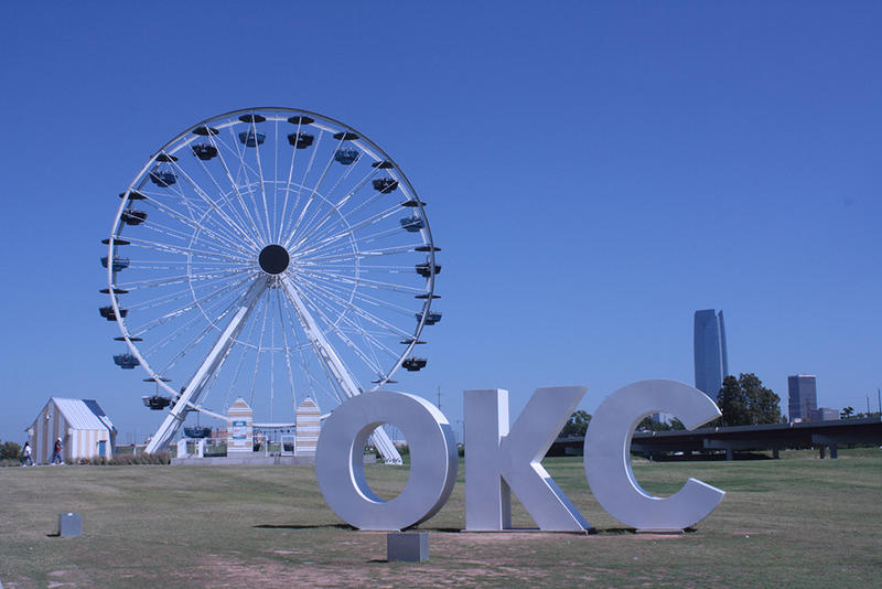 The Wheeler Ferris Wheel used to spin at the Santa Monica Pier. It now sits just to the south of the Oklahoma River.