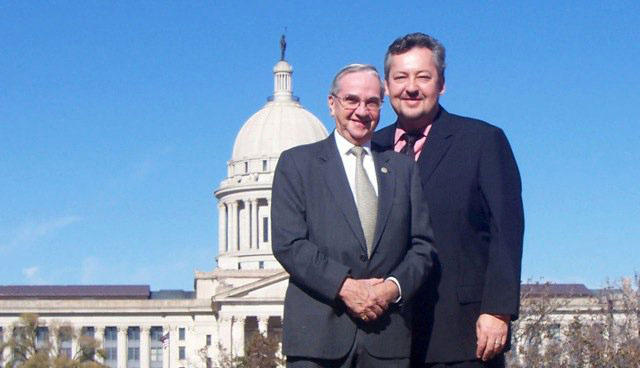 The Oklahoma Observer founding editor Frosty Troy (left) and current owner Arnold Hamilton (right).