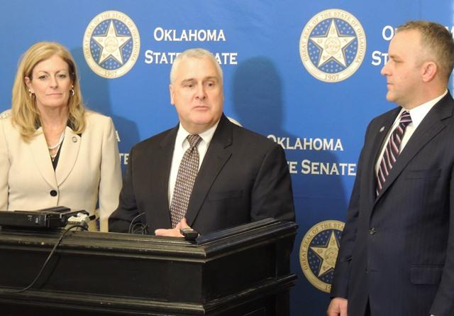 Senate Pres. Pro Tempore Mike Schulz, R-Altus, (center), Senate Appropriations Chair Kim David, R-Wagoner,  and Senate Majority Leader Greg Treat, R-Oklahoma City, spoke with reporters following Monday's State of the State Address.