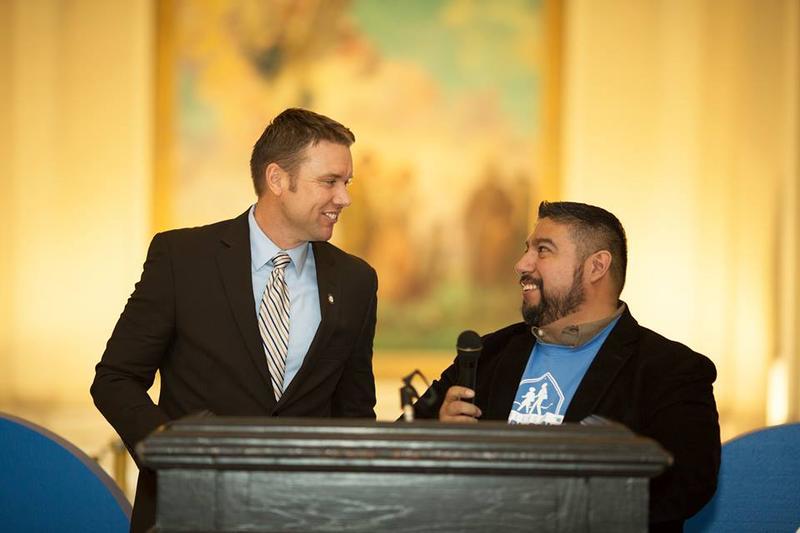 Sen. Joe Newhouse (R-Broken Arrow) and Robert Ruiz of Choice Matters talk at School Choice Capitol Day in March 2017.