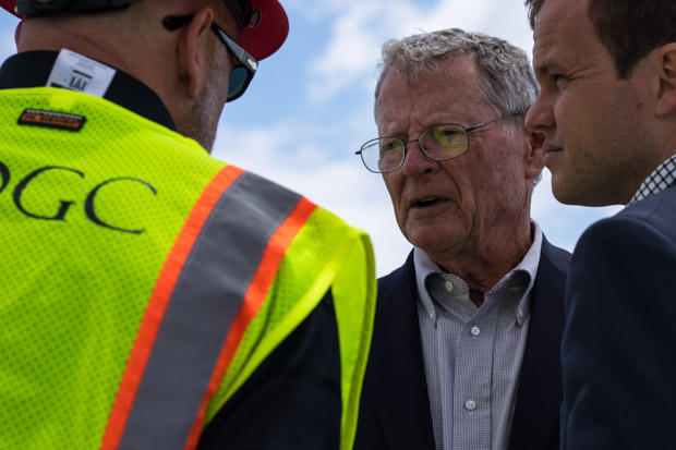 U.S. Senator Jim Inhofe at a media event atop an interstate overpass construction site in Norman, Okla. on Friday, May 12, 2017.