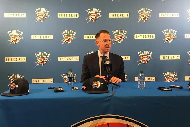 Oklahoma City Thunder General Manager Sam Presti addresses the media after the draft.