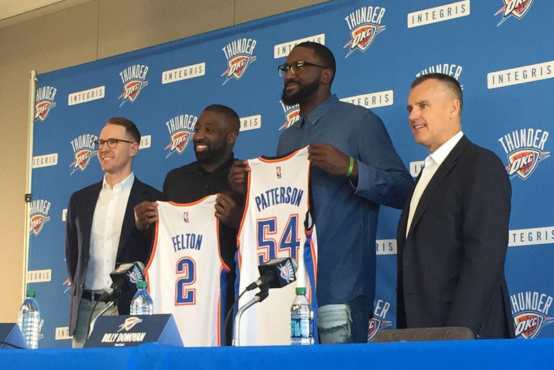 The Oklahoma City Thunder welcome Raymond Felton and Patrick Patterson during a press conference on Tuesday.