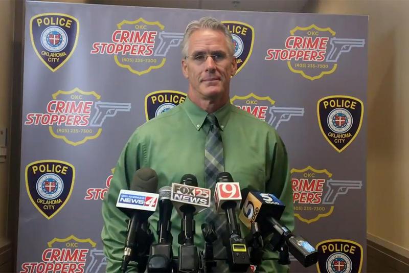Captain Bo Mathews addresses Wednesday's fatal shooting at Oklahoma City Police headquarters.
