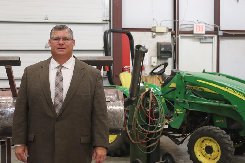 Calumet Public Schools Superintendent Keith Weldon stands in an old garage that he now uses for an agriculture program. Weldon worries if lawmakers take some of his local funding, he would have to scale back the popular program.