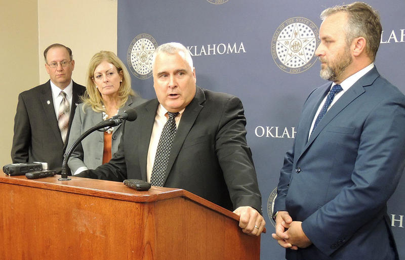 Senate President Pro Tempore Mike Schulz (R-Altus) is joined by other Senate leaders to talk about the passing of a bipartisan revenue bill on Monday.