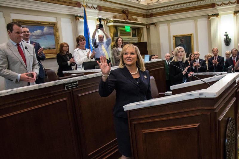 Governor Mary Fallin waves to the gallery during her final State of the State address on Monday.