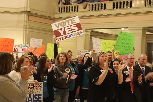 Oklahoma teachers rallied for a $5,000 pay raise at the Capitol on February 12, 2018.