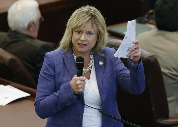 Oklahoma state Rep. Leslie Osborn, R-Mustang, debates a budget bill on the House floor in Oklahoma City on Feb. 12, 2018.
