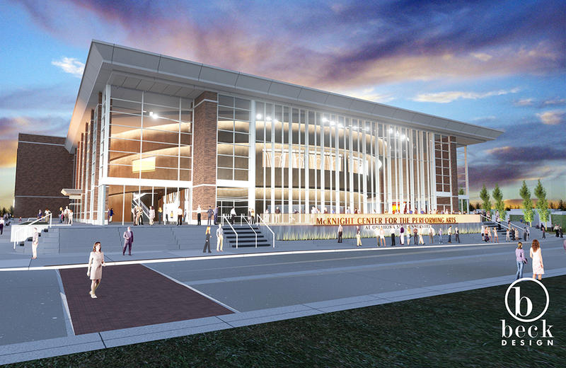 A rendering of The McKnight Center for the Performing Arts at Oklahoma State University in Stillwater.