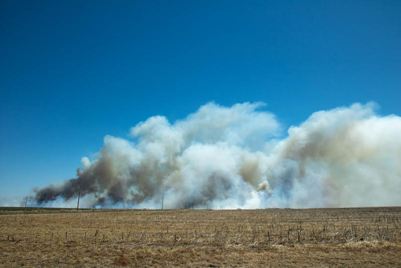 A wildfire near Woodward, Okla.