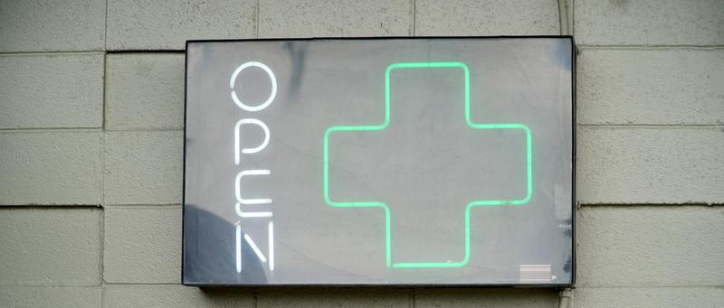 A sign advertises recreational and medical marijuana outside a dispensary in Colorado.
