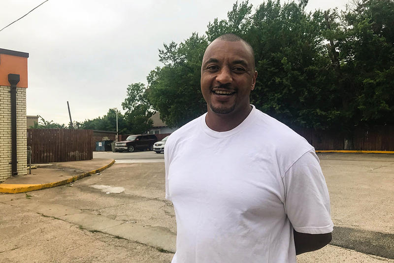 Eric Haynes of Ada, Okla., says poorly maintained roads and sidewalks are among the biggest issues his community faces.