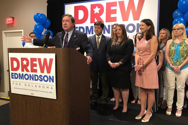 Drew Edmondson speaks to a crowd after winning the Democratic primary for Governor.
