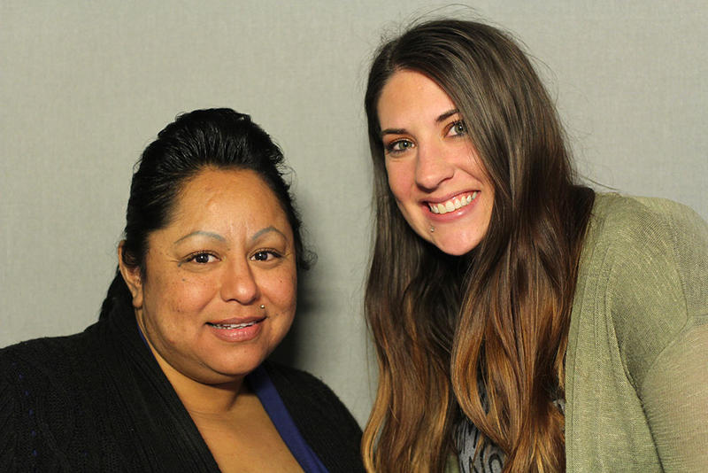 Co-workers Yvonne Munoz and Kaitlin Black-Salinas