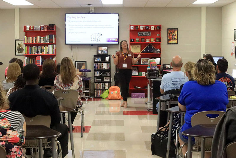 Oklahoma teachers learn about student trauma at a training session at Duncan High School.