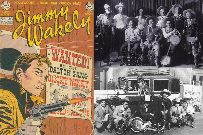 A Jimmy Wakely comic book (left), Big Henry's Indian String Band (top right) and Otto Gray and His Oklahoma Cowboys (bottom right).