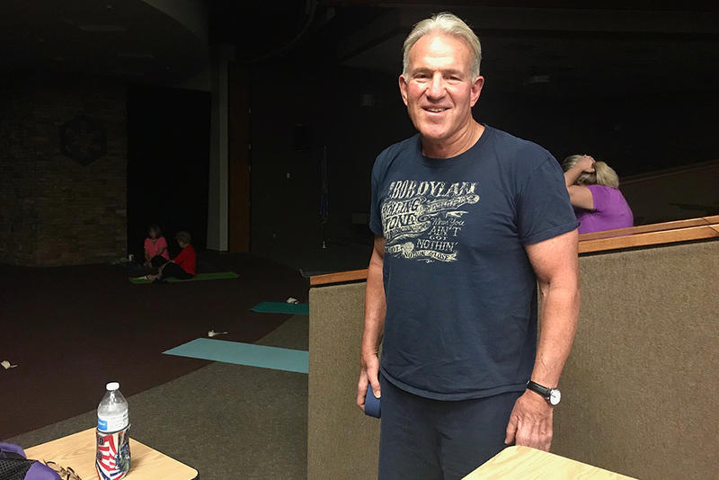 House District 101 candidate John Carpenter prepares to teach yoga at the Eastern Oklahoma County Technology Center on Sept. 26, 2018.