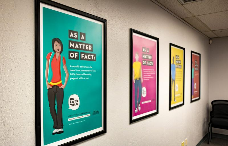 Posters on sexual health at Thrive's headquarters in Oklahoma City.