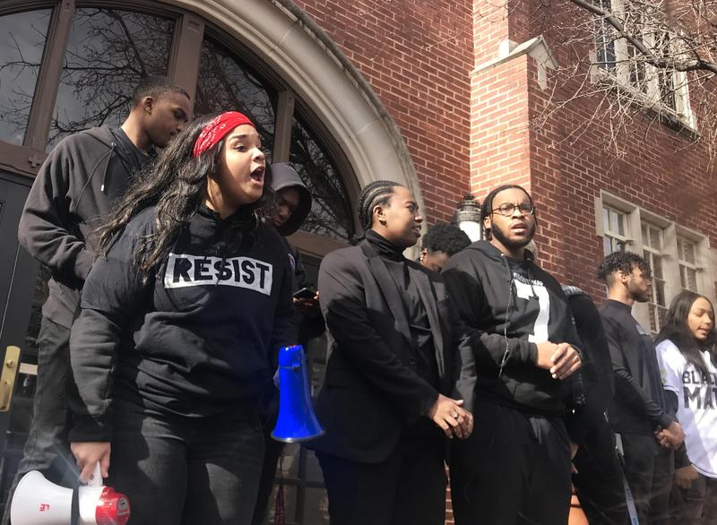 "OU junior Destinee Dickson leads a chant at the ""Better Together"" march on Thursday, Jan 24, 2019."