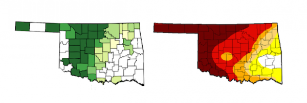 In Oklahoma, drought and wheat production coexist. The map on the left shows the concentration of winter wheat planted per acre in 2013. The map on the right shows drought intensity on May 20, 2014.