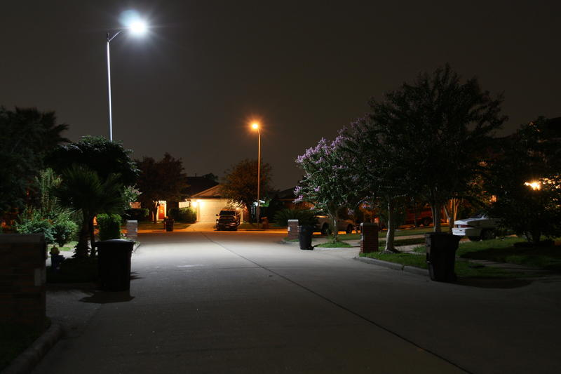 A comparison of old and new streetlights in Houston, TX