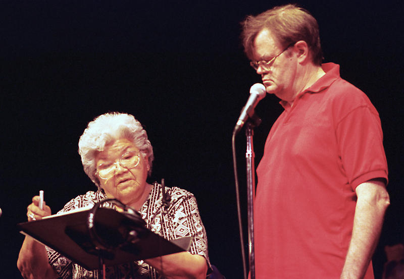 Pauline Flett of the Spokane Tribe rehearses the tribe's story of the coming of the salmon with Garrison Keillor. She spoke in the traditional Salish language while Keillor read the translation.