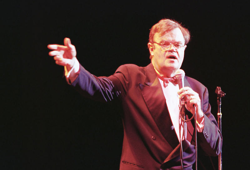 Garrison Keillor on stage in Downtown Spokane during A Prairie Home Companion.