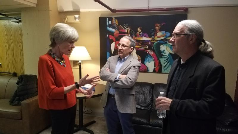 Anne Garrels chatting with SPR's Doug Nadvornich and Steve Jackson backstage