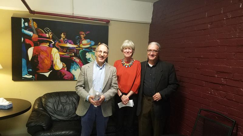 Anne Garrels with SPR's Doug Nadvornich and Steve Jackson backstage