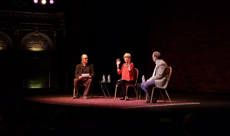 Anne Garrels answering audience questions at the Bing Theater