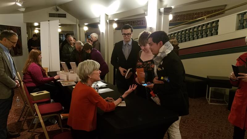 Anne Garrels signing books after the live event at the Bing Theater