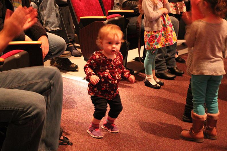 Toddler dancing to the Hot Club of Spokane