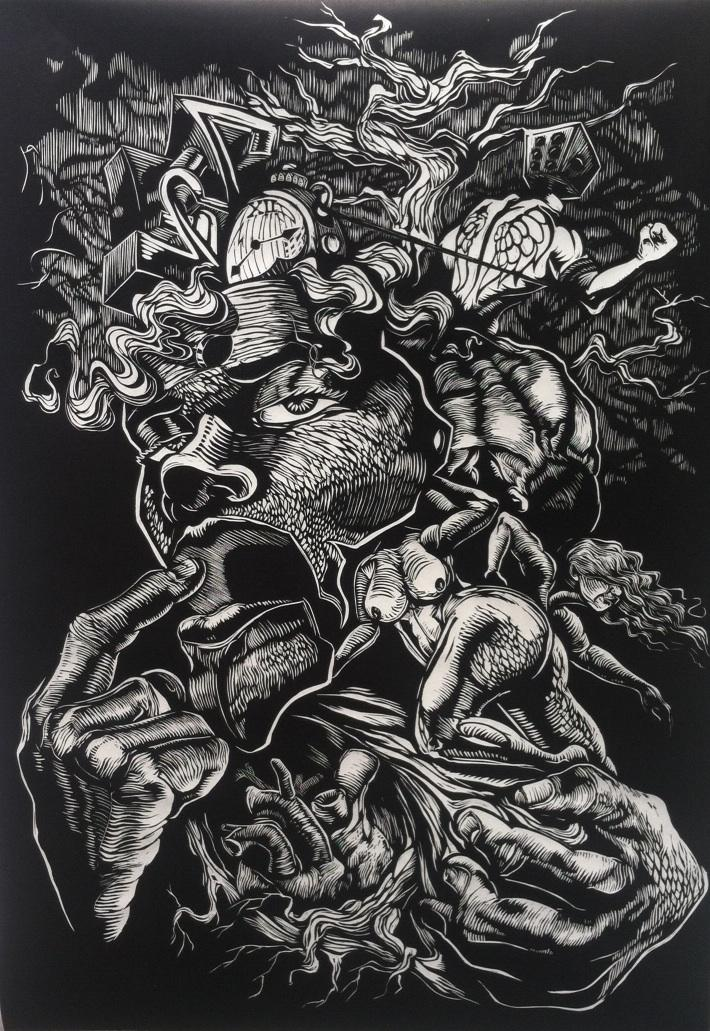 """Pulling Roots"" by Reinaldo Gil Zambrano, hand-carved relief print"